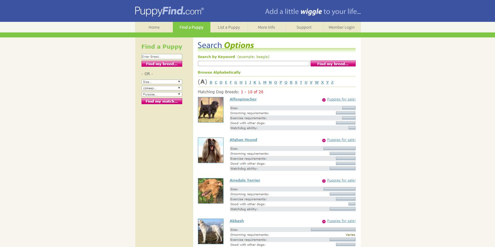 puppyfind website